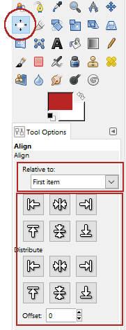 Tool untuk mengatur posisi objek di GIMP