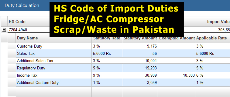 Customs-Import-Duty-on-Fridge-Compressor-Scrap-in-Pakistan