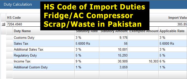 Customs-Import-Duty-on-Fridge-Compressor-Scrap-in-Pakistan
