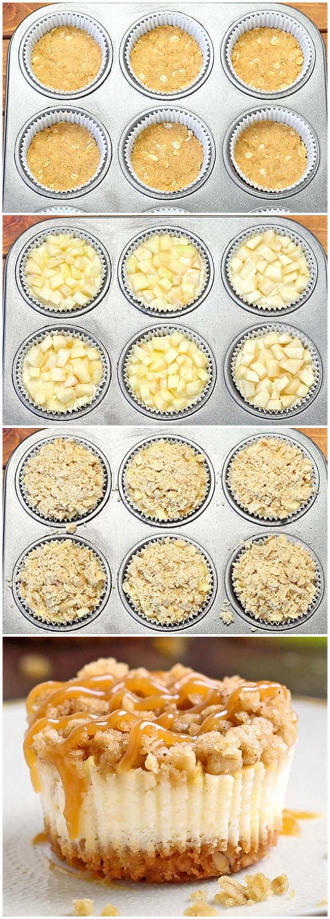 Caramel Apple Crisp Mini Cheesecakes | Fullwoo