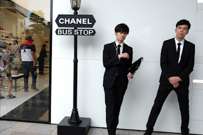 "Door attendants at the Chanel ""Bus Stop,"" Omotesando, Tokyo."