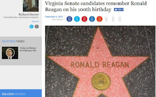 Ronald Reagan Hollywood star Virginia senate candidates