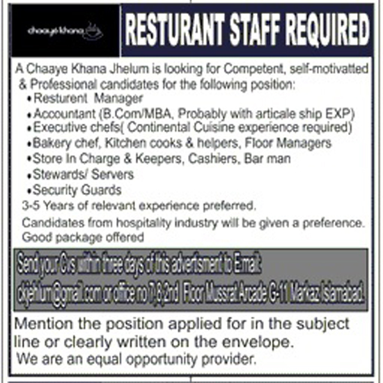 Restaurant Job Required In Islamabad Sep 2017