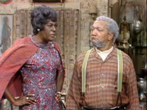"""photo of Aunt Esther and Fred Sanford glaring at each other: from """"Sanford and Son"""" TV show"""