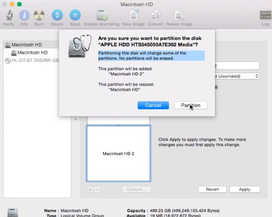 Partitioning the internal hard drive for creating a dual boot Mac