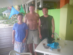 Me with fellow divers and Rum and Coke reward ! Pigeon Point, Tobago