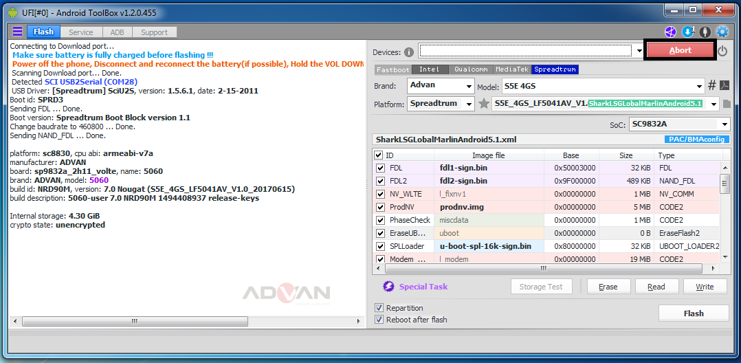 Remove / ByPass FRP Advan S5E 4GS Tested