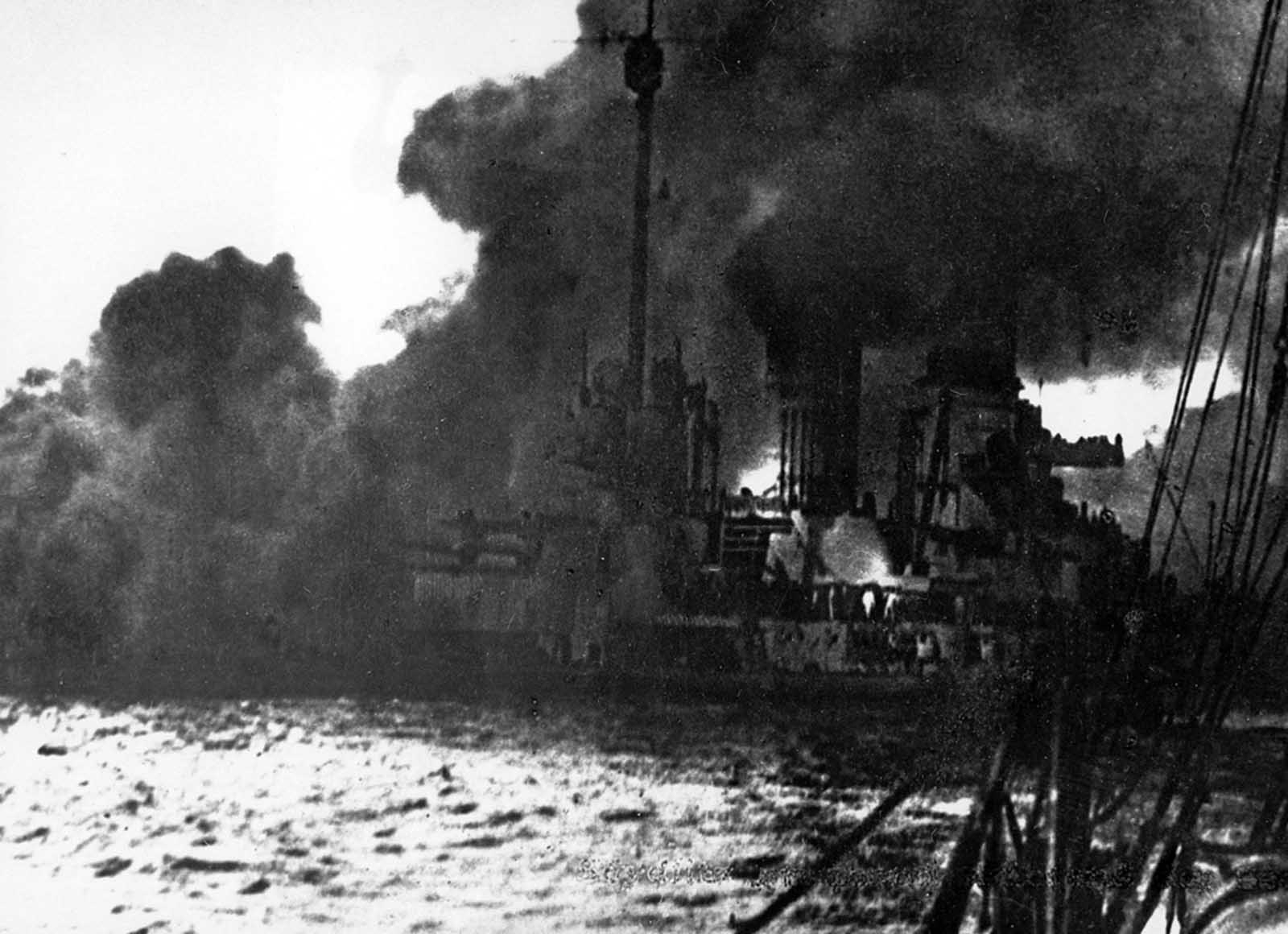 The German battle cruiser Seydlitz burns in the Battle of Jutland, May 31, 1916. Seydlitz was the flagship of German Vice Admiral von Hipper, who left the ship during the battle. The battle cruiser reached the port of Wilhelmshaven on own power.