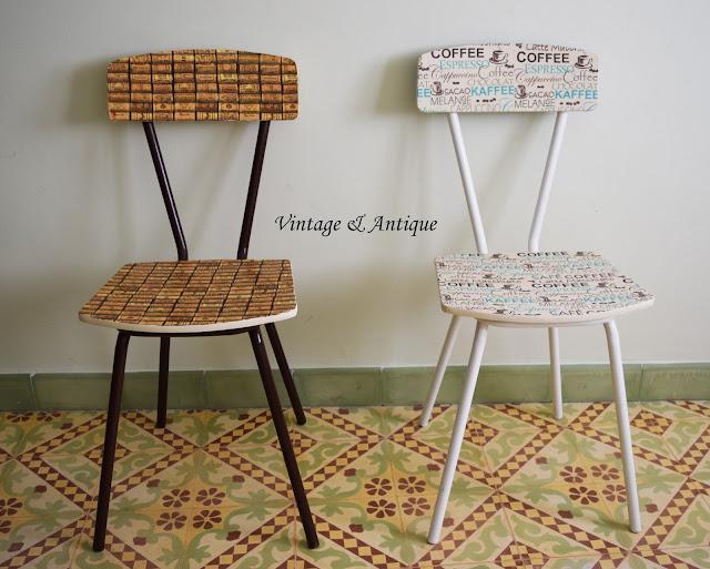 Vintage y antique unas sillas de formica renovadas - Sillas formica ...
