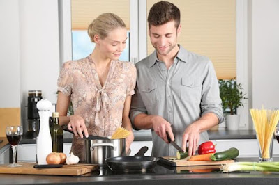 Couple in the kitchen without mobile device