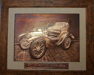metaloplastie pe tabla de cupru, masina de epoca rolls royce, tablouri, masini, arta plastica, lucru manual, masini de epoca,