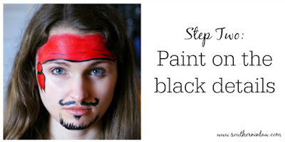 Pirate Face Paint Step Two - Paint on the Black Details