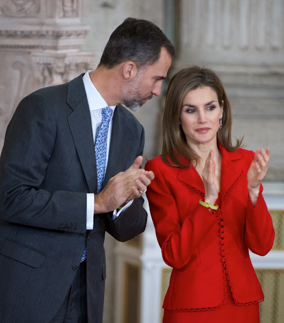 King Felipe VI of Spain and Queen Letizia of Spain attend the 2014 Investigation National Awards