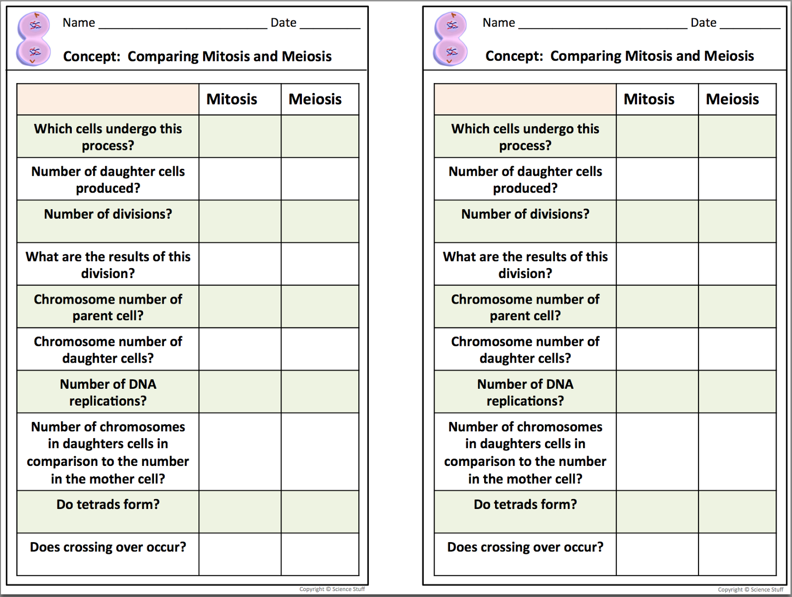 28+ [ Comparing Mitosis And Meiosis Worksheet Key ] | pics ...