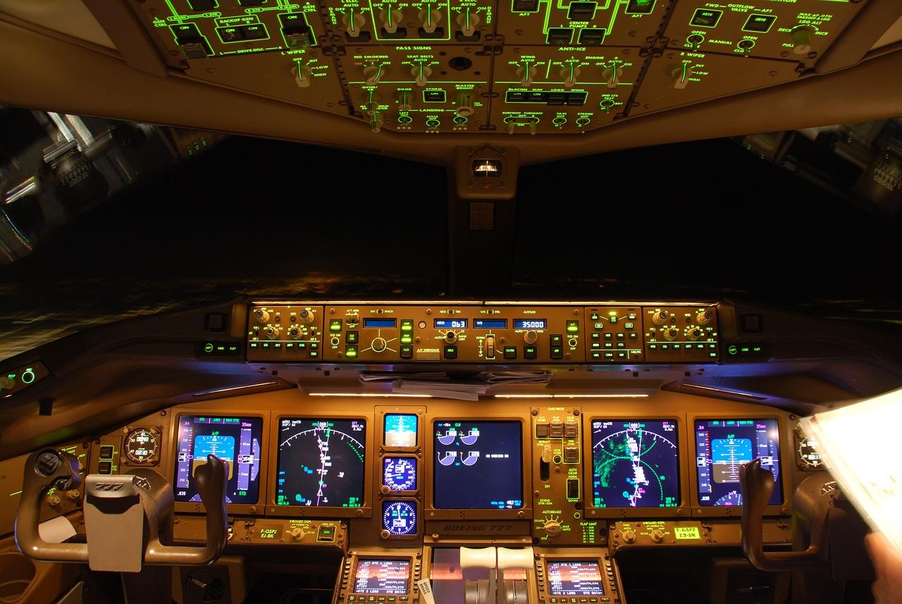 Boeing 777 Series Illuminated Cockpit Aircraft Wallpaper