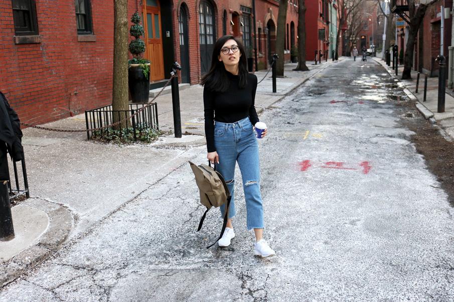 Philadelphia Street Style Mom Jeans Sneakers