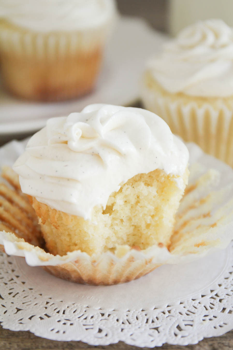 These vanilla bean cupcakes are light and moist, with the perfect tender crumb. The perfect vanilla cupcake!