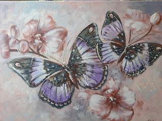 Картина, Бабочки в орхидеях, 30х40см.