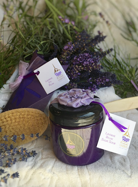 Lavender body products made by Pelindaba Lavender using organic lavender oil