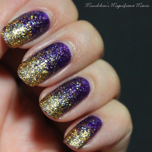 Purple and Gold Glitter Gradient, Fun Lacquer- Million Dollar Dream and Zoya Finley