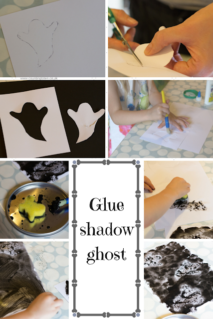 Photographs to illustrate how to make glue shadow ghosts with toddlers for Halloween as described below