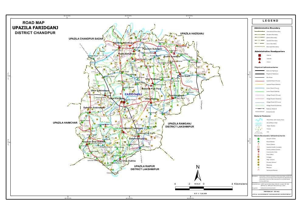 Faridganj Upazila Road Map Chandpur District Bangladesh