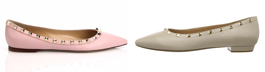 One of these pairs of studded flats is from Valentino for $775 and the other is from Vaneli on sale for $44 (reg $145). Can you guess which one is the more expensive pair?