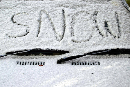 Snow written on snow covered car, Funny pictures of snow