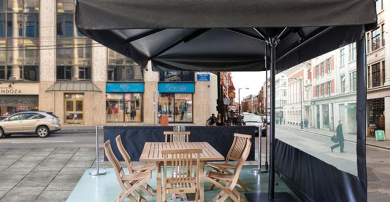parasoles aluminio serie elite mástil desplazado