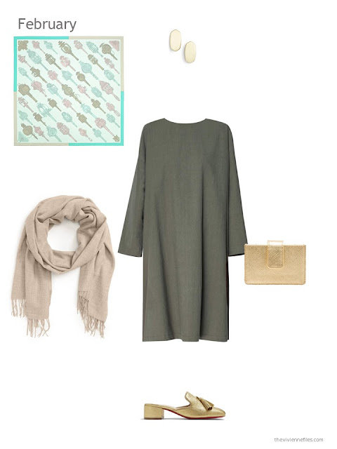 a green dress with beige and gold accessories
