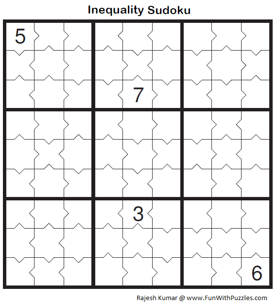 Inequality Sudoku (Fun With Sudoku #40)