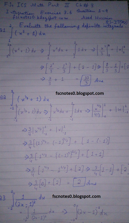 FSc ICS Notes Math Part 2 Chapter 3 Integration Exercise 3.6 question 1 - 9 by Asad Hussain