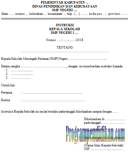 Surat Instruksi Kepala Sekolah