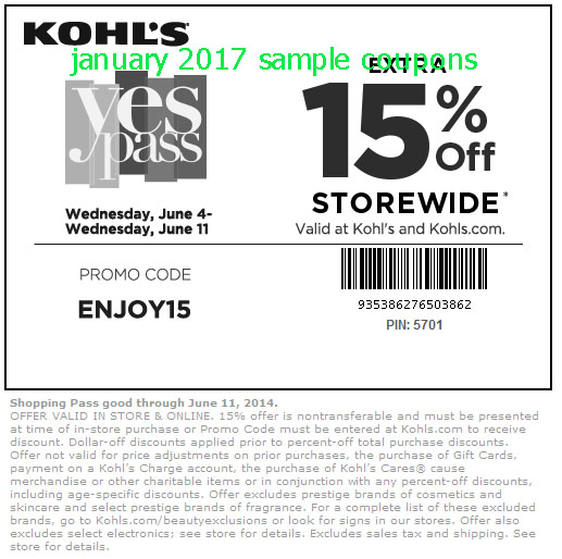 Kohls discount coupons 2018
