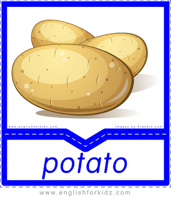 English flashcard, food vocabulary, potato