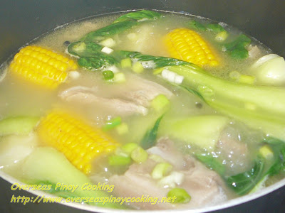 Nilagang Baboy with Sweet Corn - Cooking Procedure