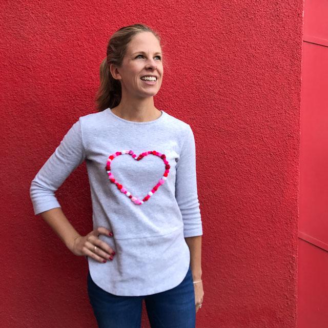 Make a pom-pom heart shirt for Valentine's Day - or any day!