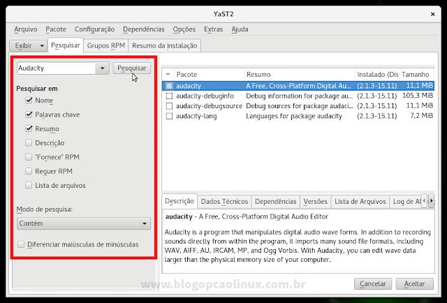 Janela principal do Gerenciamento de Software do YaST