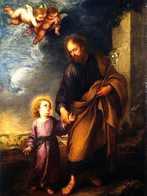 San Jose Llevando de la Mano al Niño Jesus y Angeles sobre ellos