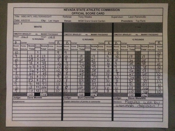 Manny Pacquiao Win agains Timothy Bradley Welterweight fight from MGM Grand Las Vegas