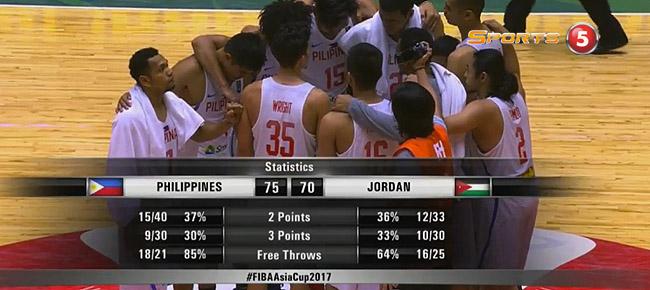 Gilas Pilipinas def. Jordan, 75-70 (REPLAY VIDEO) 7th Place - FIBA Asia Cup 2017