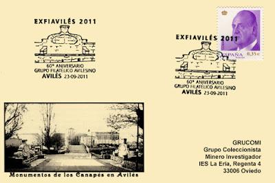 Tarjeta del matasellos de la EXFIAVILES 2011 celebrando el 60 aniversario del Grupo F. Avilesino
