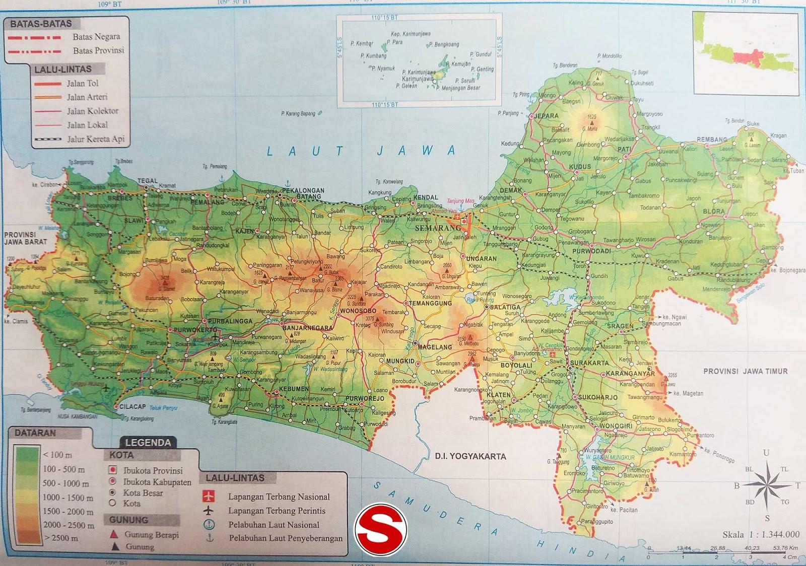 Gambar Peta Atlas Provinsi Jawa Tengah