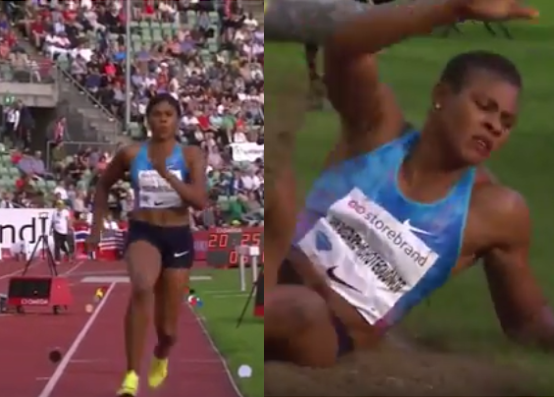 Video: Nigerian athlete, Blessing Okagbare loses her wig during long jump in Oslo