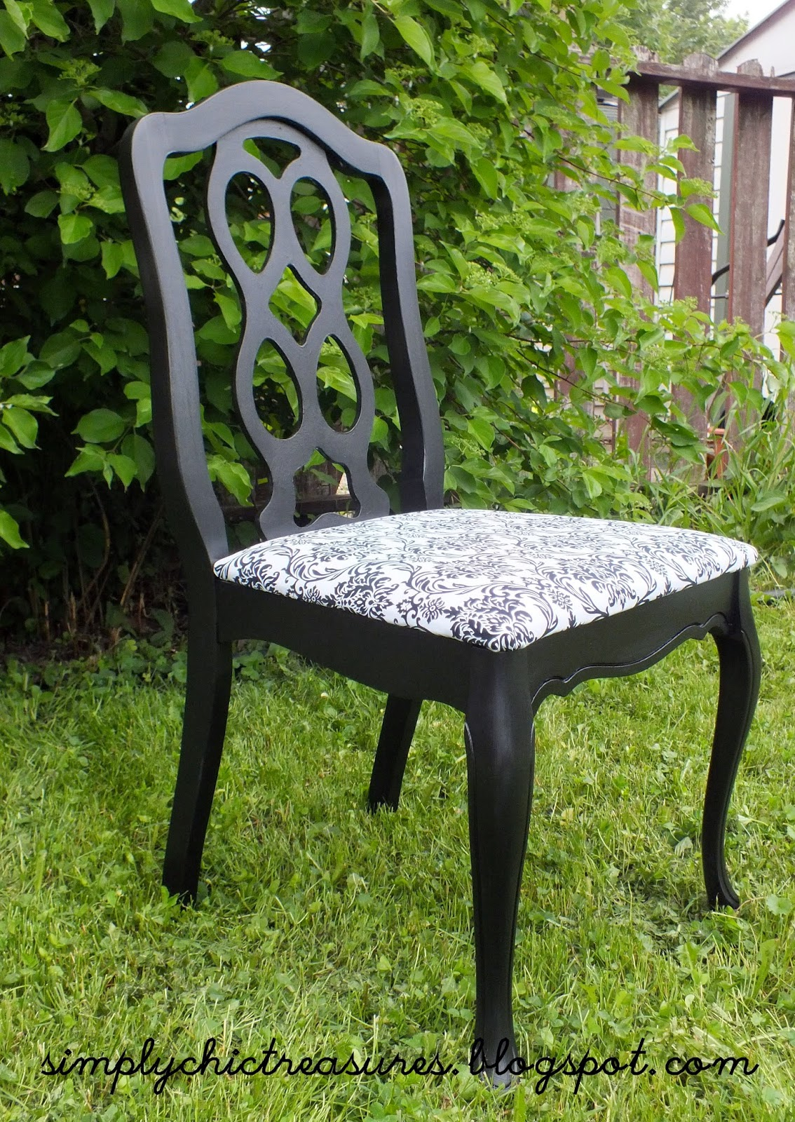 simply chic treasures: Black and White Damask Chair (Or ...