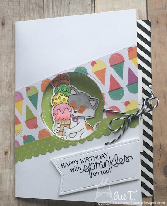Happy Birthday with sprinkles on top by Sue features Newton's Summer Treats, Summer Scoops, and Frames & Flags by Newton's Nook Designs; #newtonsnook