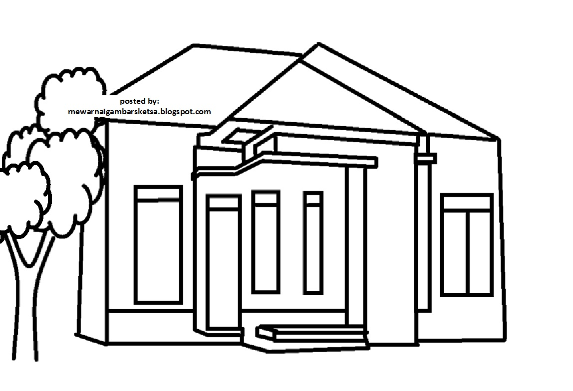 Mewarnai Gambar Mewarnai Gambar Sketsa Rumah 9