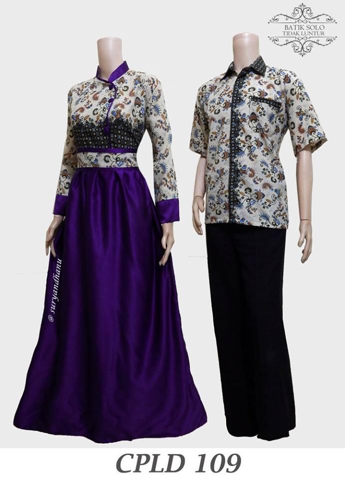 Baju Batik Couple Model Gamis Masa Kini Cpld 109