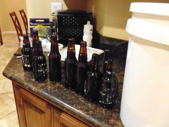 Waiting to cap the bottles