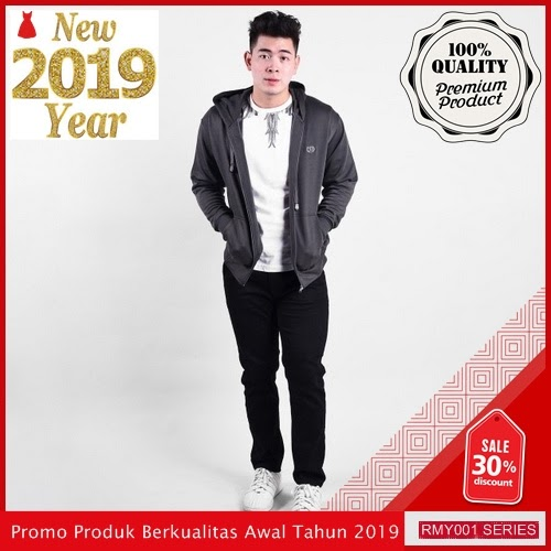 RMY204S34 Sweater Zipper Topi Distric Keren Dark Grey BMGShop